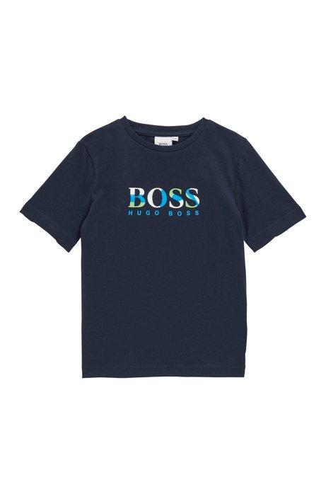 T-shirt da bambino in cotone con logo multicolore, Blu scuro