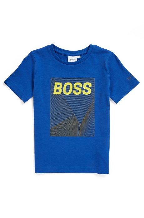 T-shirt Slim Fit en coton pour enfant avec logo artistique, Bleu