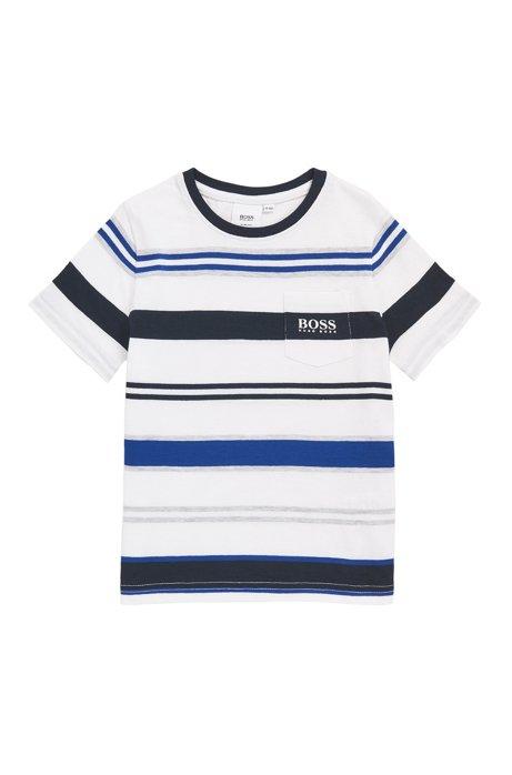 T-shirt da bambino slim fit con righe lavorate, Blu