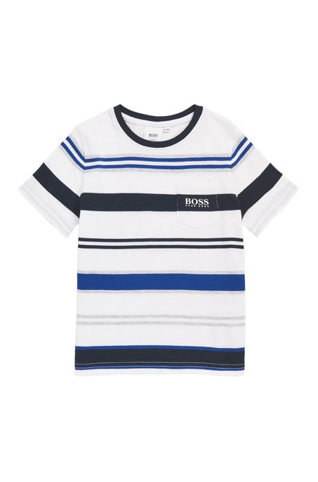 Slim-fit kinder-T-shirt met gebreide strepen, Blauw
