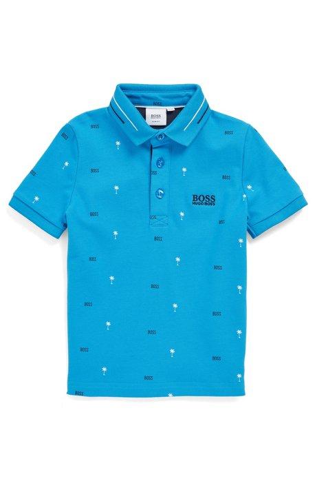 Kids-Poloshirt aus Stretch-Baumwolle mit Palmen-Print, Blau