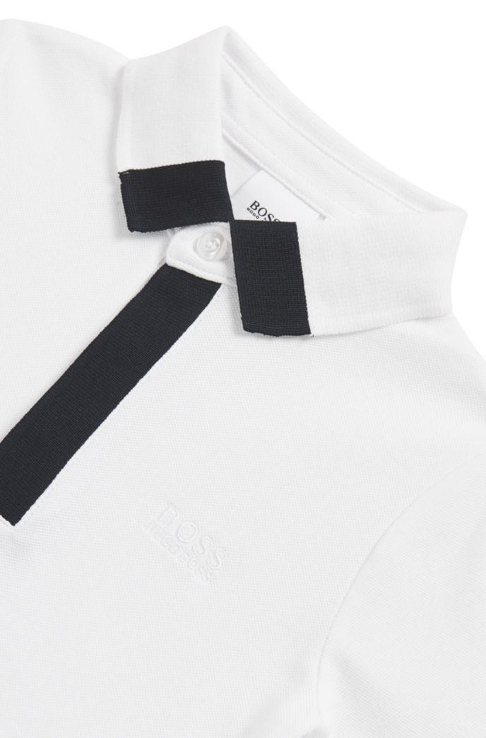 Kids-Poloshirt aus Stretch-Baumwolle mit Logo-Paspeln