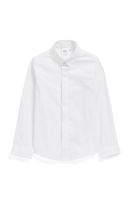 Chemise Slim Fit pour enfant avec patte de boutonnage invisible, Blanc