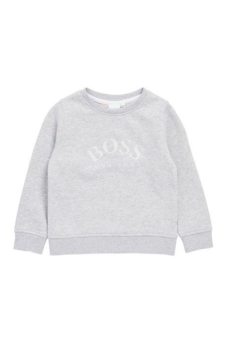 Sweatshirt voor kinderen van sweatstof met reliëflogo, Lichtgrijs