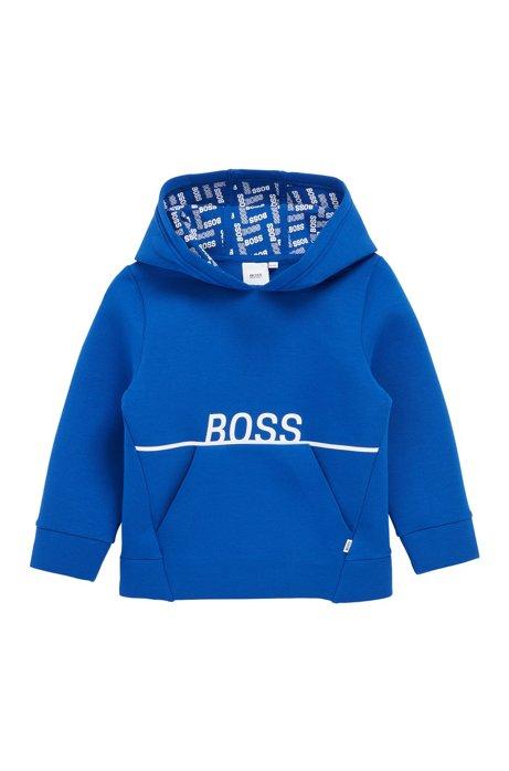 Sudadera con capucha para niños en felpa de rizo con detalles de logos, Azul