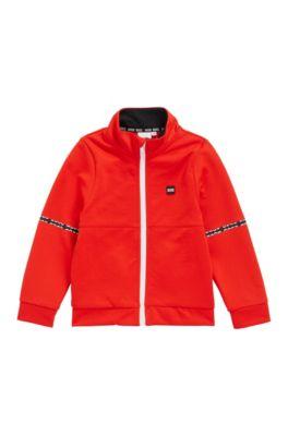 Giacca da bambino con logo stampato sul colletto per l'abbigliamento da casa, Arancione scuro