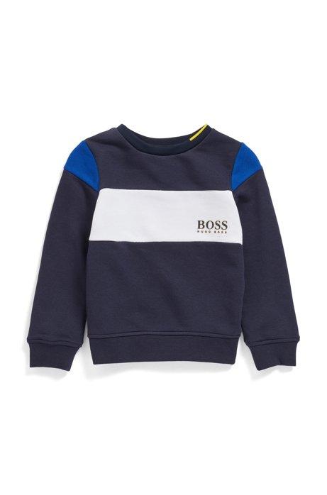 Felpa da bambino in french terry a blocchi di colore con logo, Blu scuro