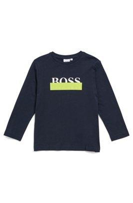 Kids' long-sleeved T-shirt in cotton with logo artwork, Dark Blue