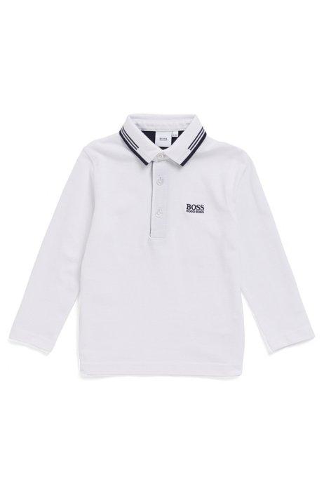 Polo à manches longues en piqué de coton pour enfant, Blanc