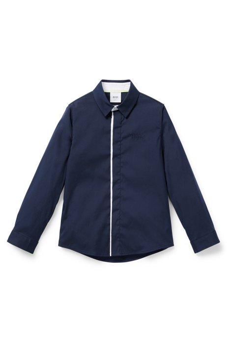 Chemise Slim Fit pour enfant avec patte de boutonnage invisible, Bleu foncé
