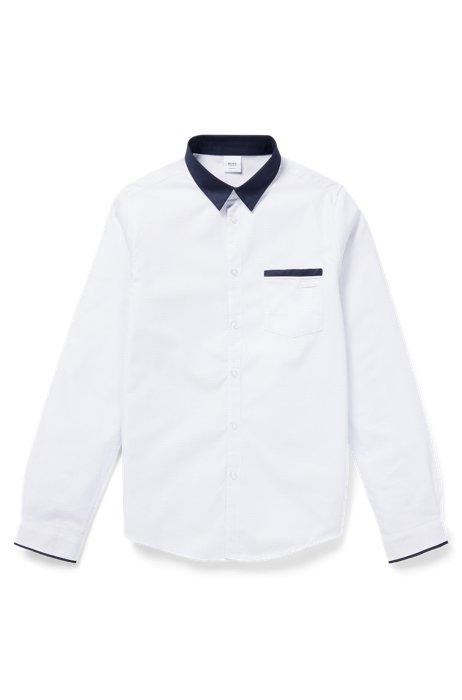 Slim-fit overhemd voor kinderen van katoen met contrastdetails, Wit