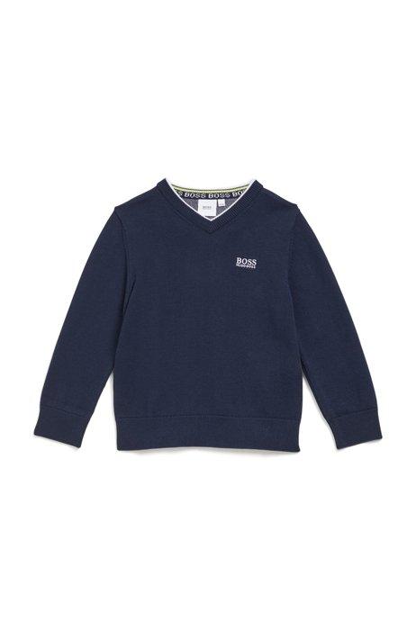 Kids-Pullover aus gekämmter Baumwolle mit V-Ausschnitt und Logo-Stickerei, Dunkelblau