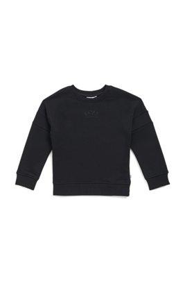 Kids' sweatshirt in cotton-blend fleece with lustrous logos, Black
