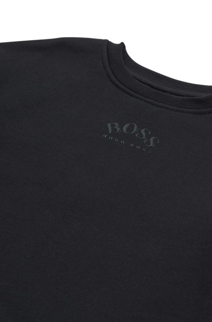Kids' sweatshirt in cotton-blend fleece with lustrous logos