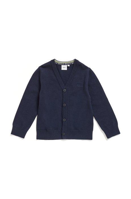 Cardigan da bambino in cotone pettinato con toppe sui gomiti, Blu scuro
