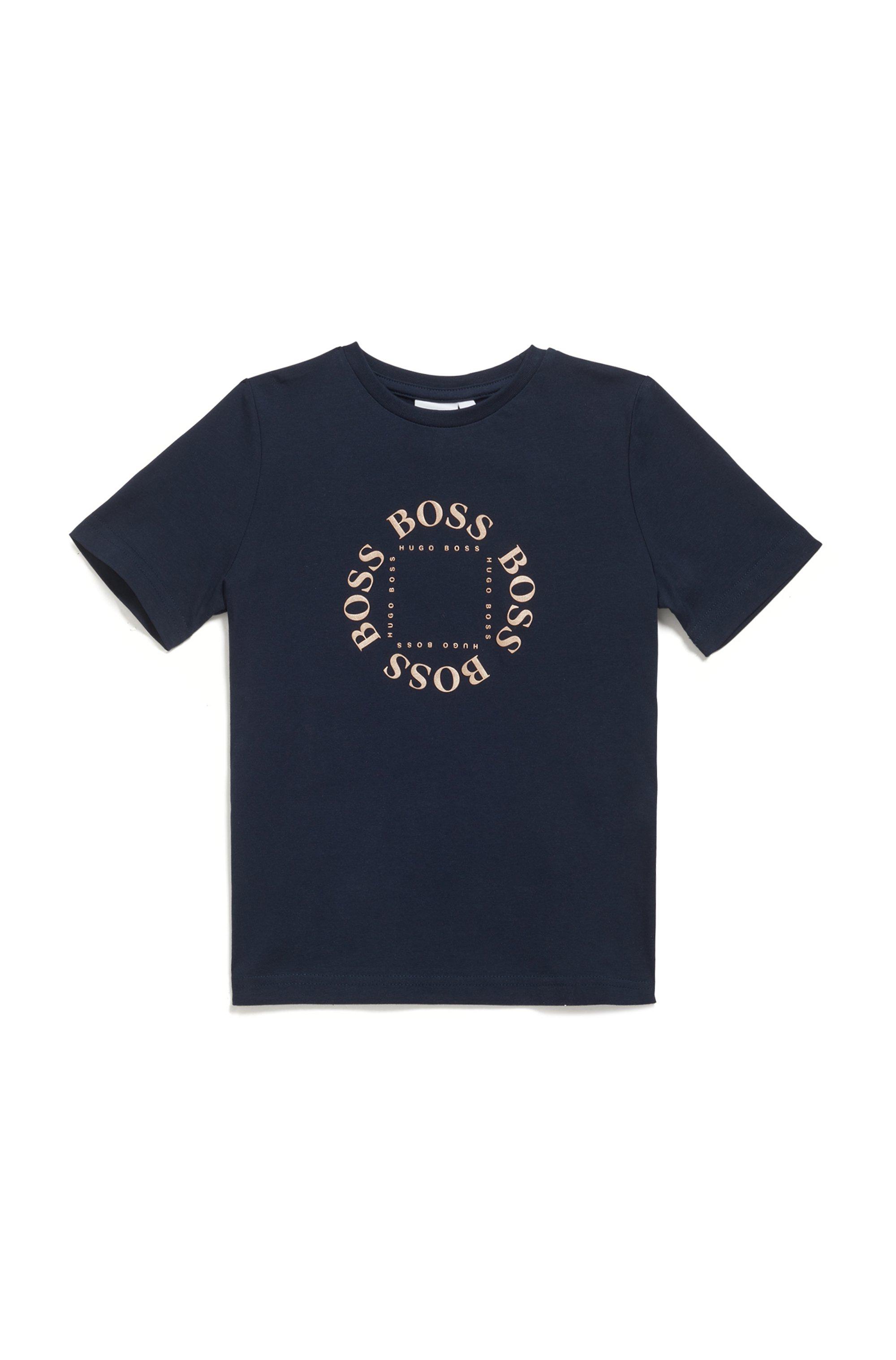 T-shirt voor kinderen van katoen met logo-artwork in goudprint, Donkerblauw