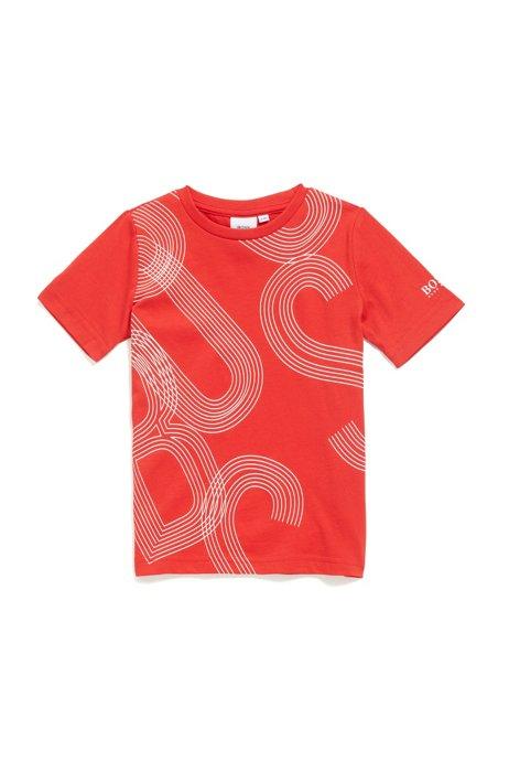 T-shirt Slim Fit en coton pour enfant, à logo imprimé abstrait, Rouge