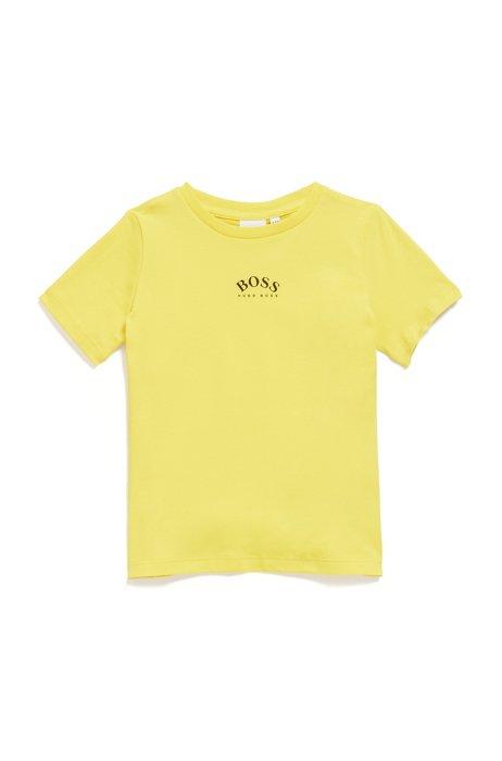 T-shirt slim fit per bambini in cotone elasticizzato con logo, Giallo