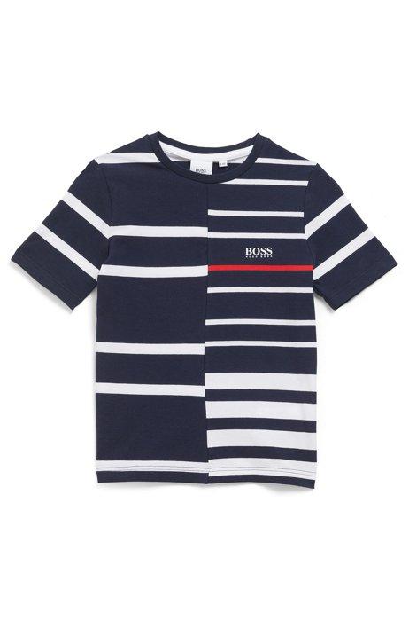 Kinder-T-shirt van stretchkatoen met gebroken strepen, Donkerblauw