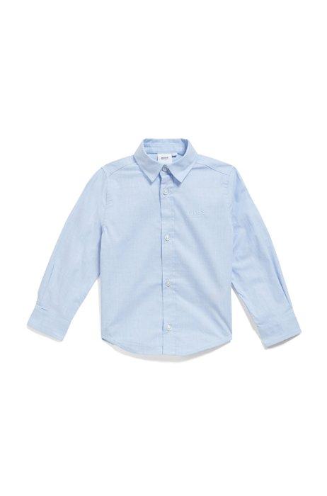Kids-Hemd aus Baumwolle mit Logo-Stickerei, Hellblau