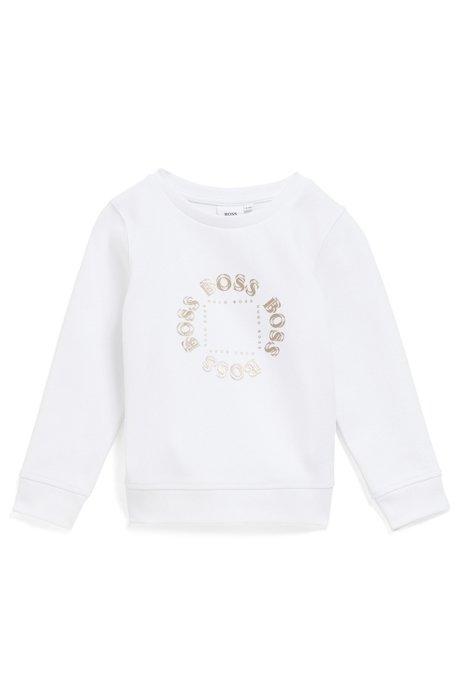 Kids-Sweatshirt aus French Terry mit goldfarbenem Logo-Print, Weiß