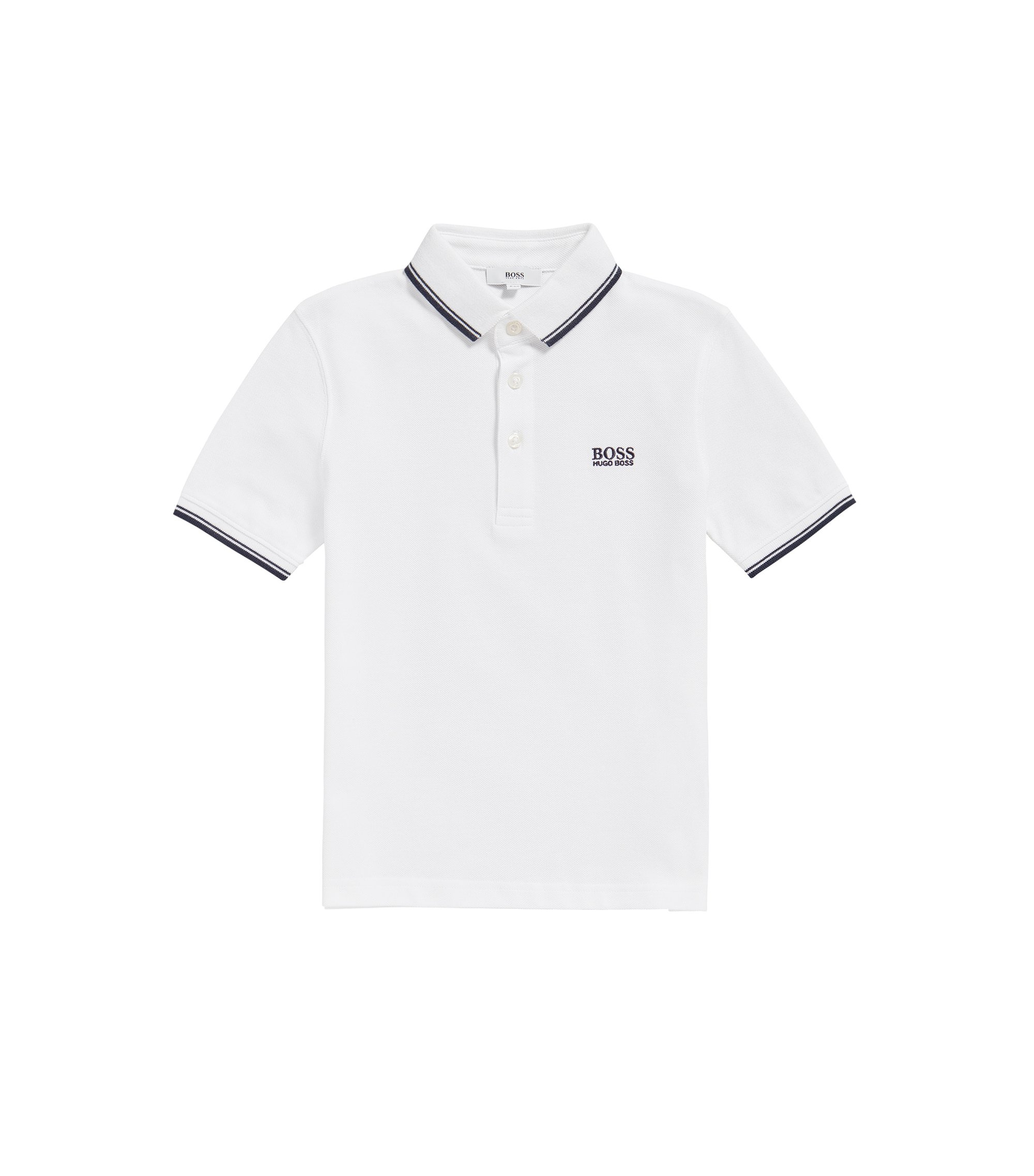 Kids' regular-fit polo shirt in cotton, White