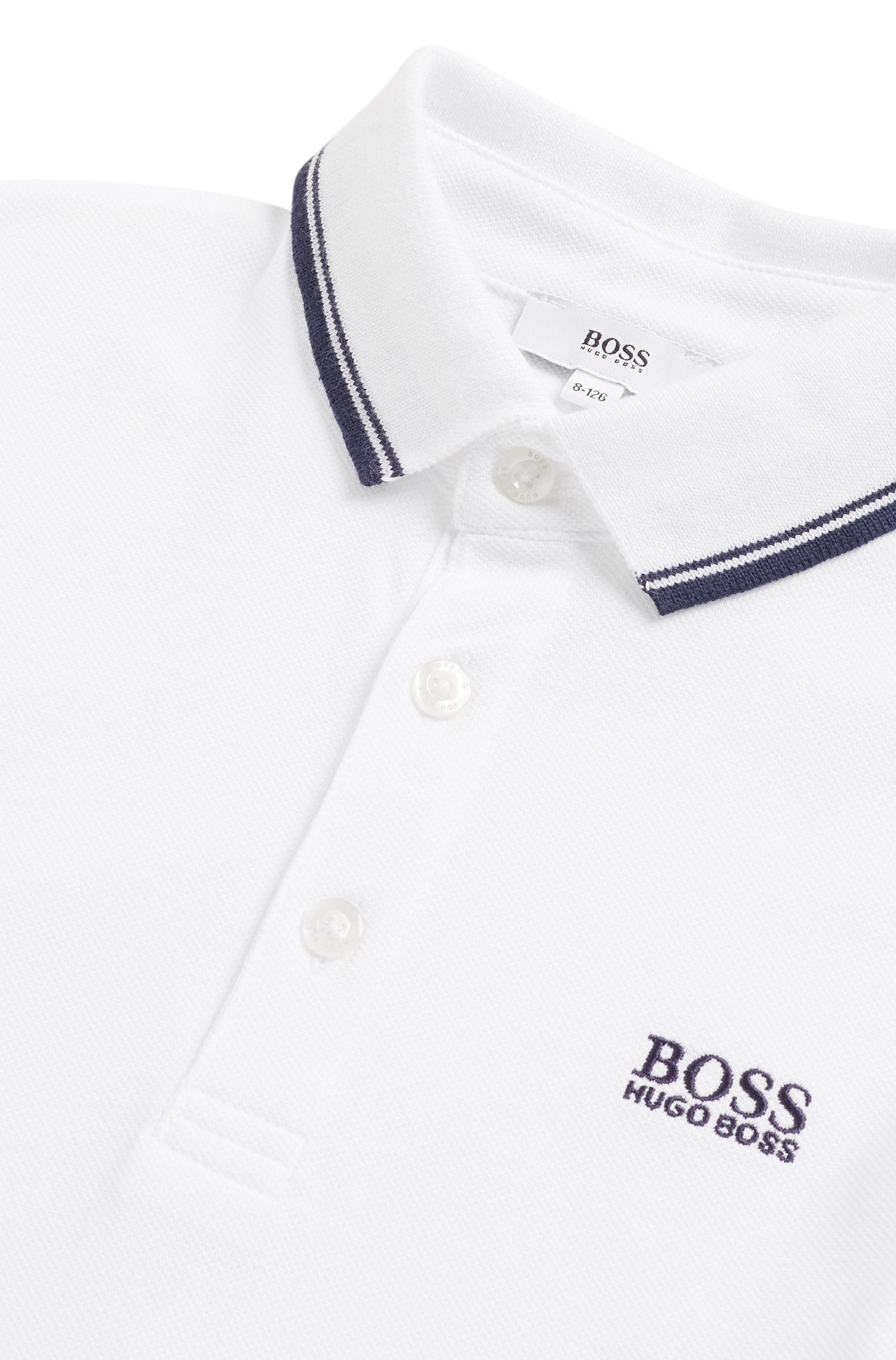 Regular-Fit Kids-Poloshirt aus Baumwoll-Piqué, Weiß