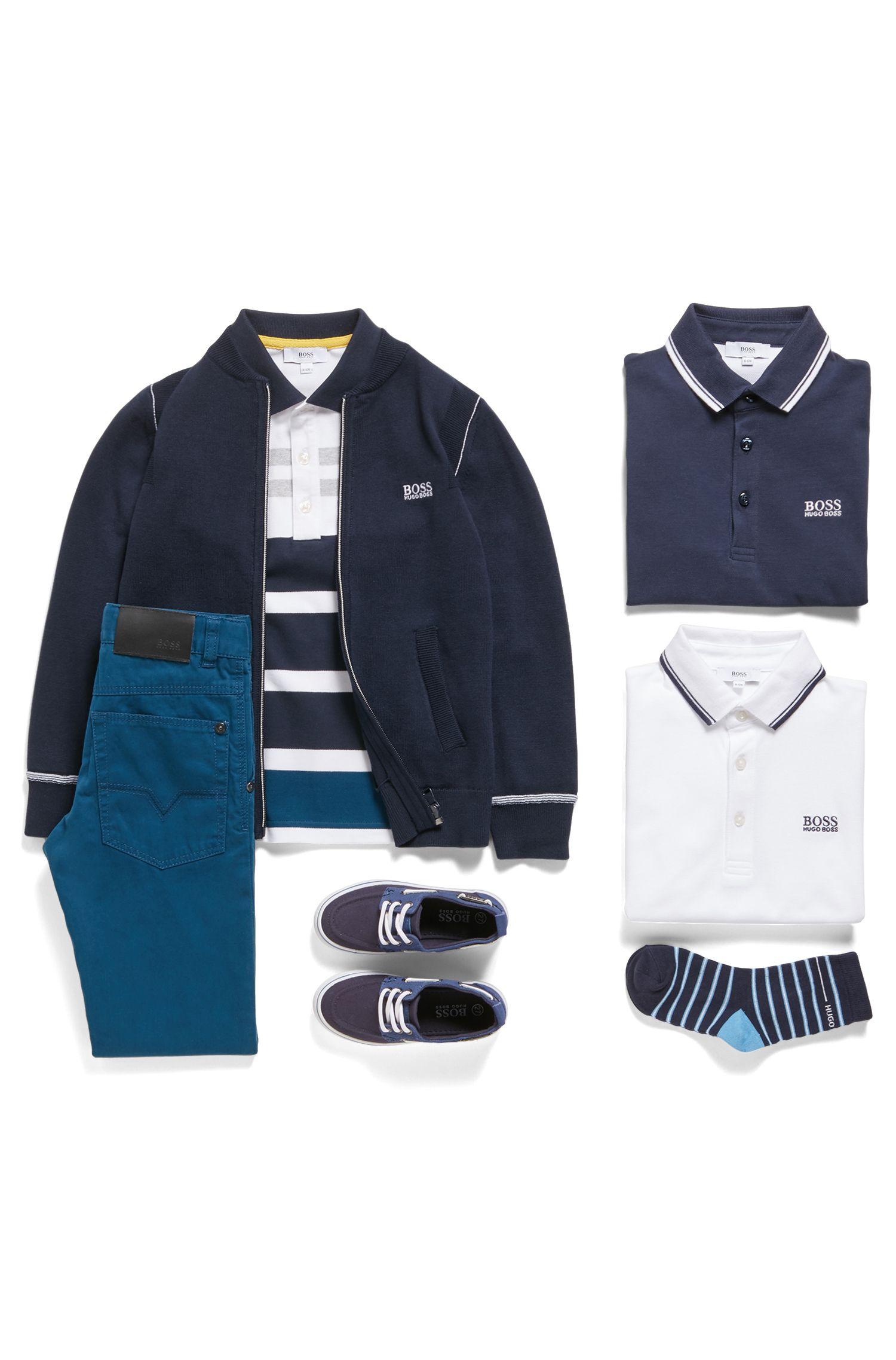 Polo Regular Fit pour enfant en coton, Blanc