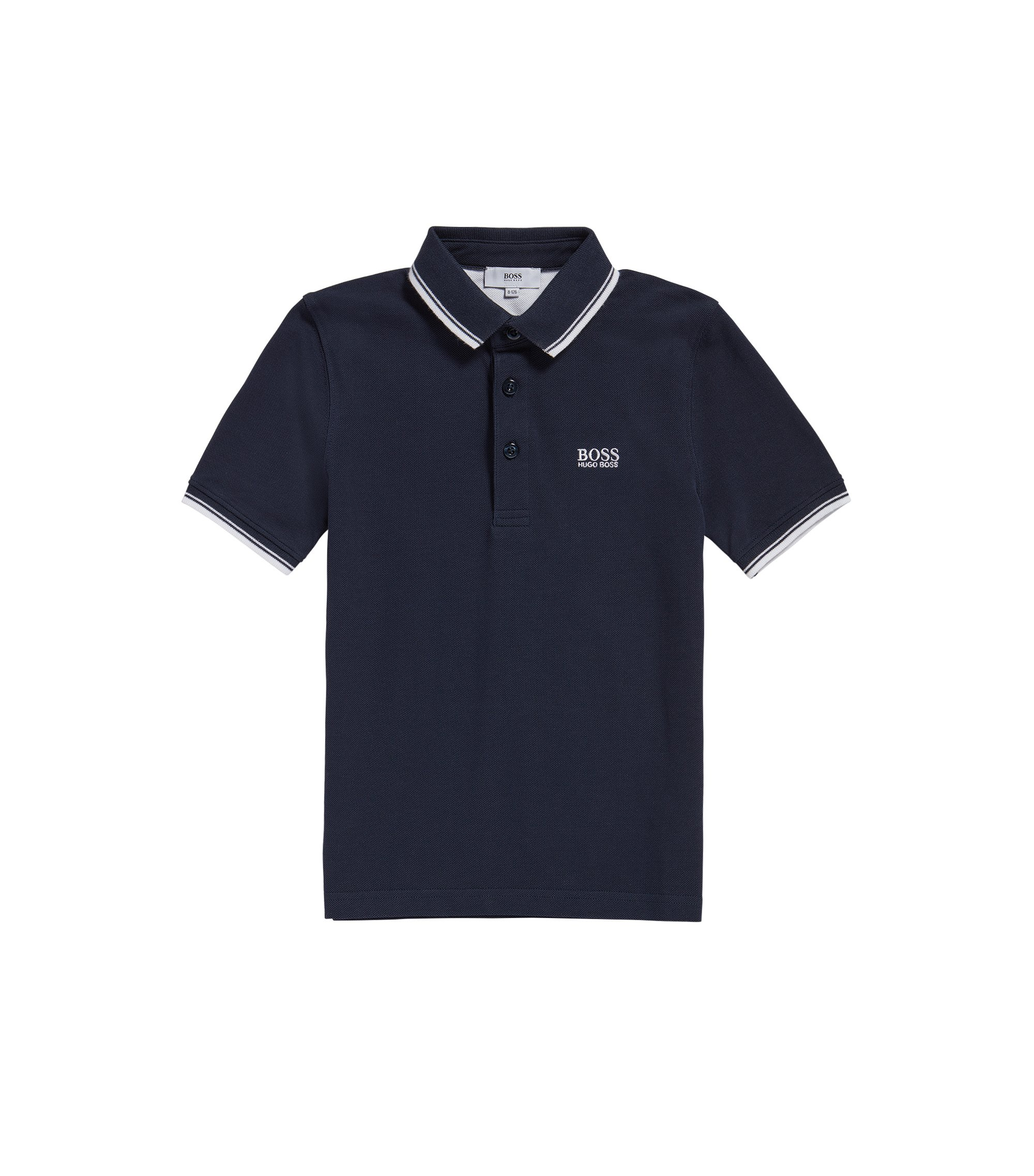 Polo regular fit da bambino in cotone, Blu scuro
