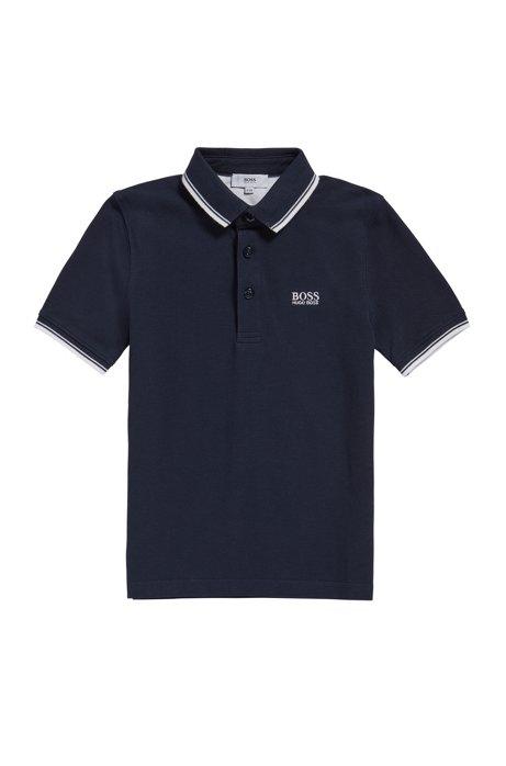 Kids' regular-fit polo shirt in cotton, Dark Blue