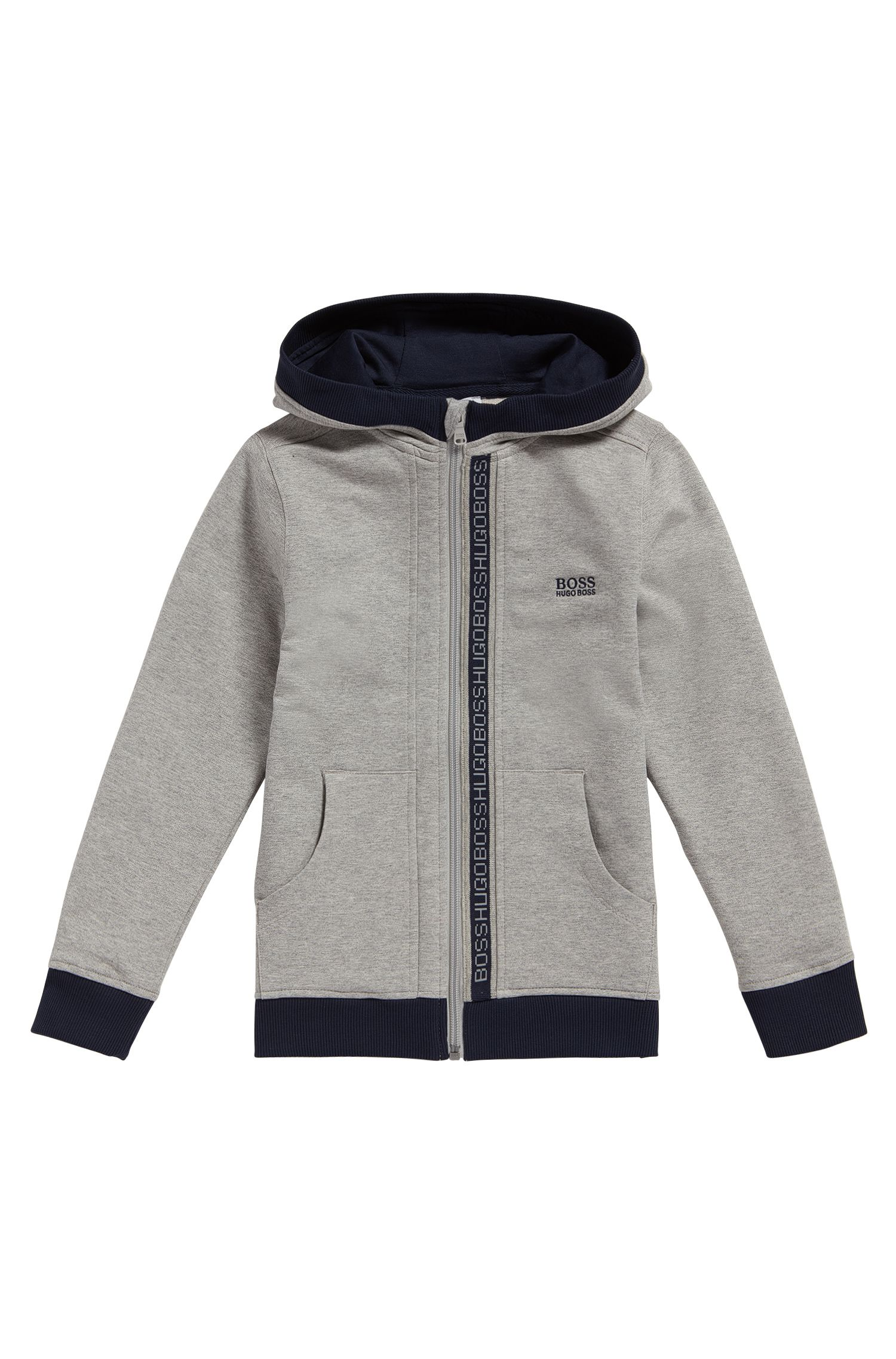 Kids' hooded sweatshirt jacket in stretch cotton: 'J25P02'