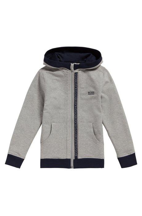 Regular-fit sweatshirt in stretch cotton, Light Grey