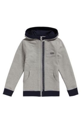 Kids' hooded sweatshirt jacket in stretch cotton: 'J25P02', Light Grey