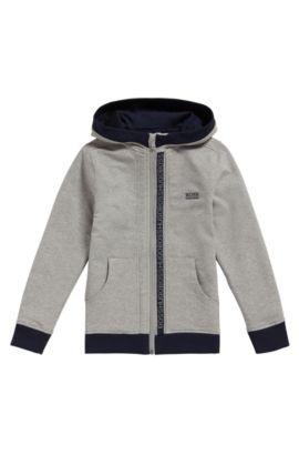 Kids-Sweatshirt-Jacke aus Stretch-Baumwolle mit Kapuze: 'J25P02', Hellgrau