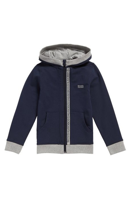 Regular-fit sweatshirt in stretch cotton, Dark Blue