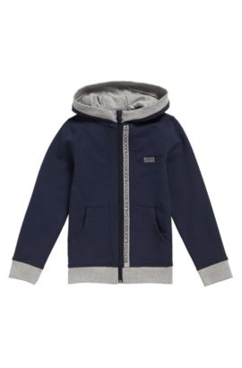 Kids' hooded sweatshirt jacket in stretch cotton: 'J25P02', Dark Blue