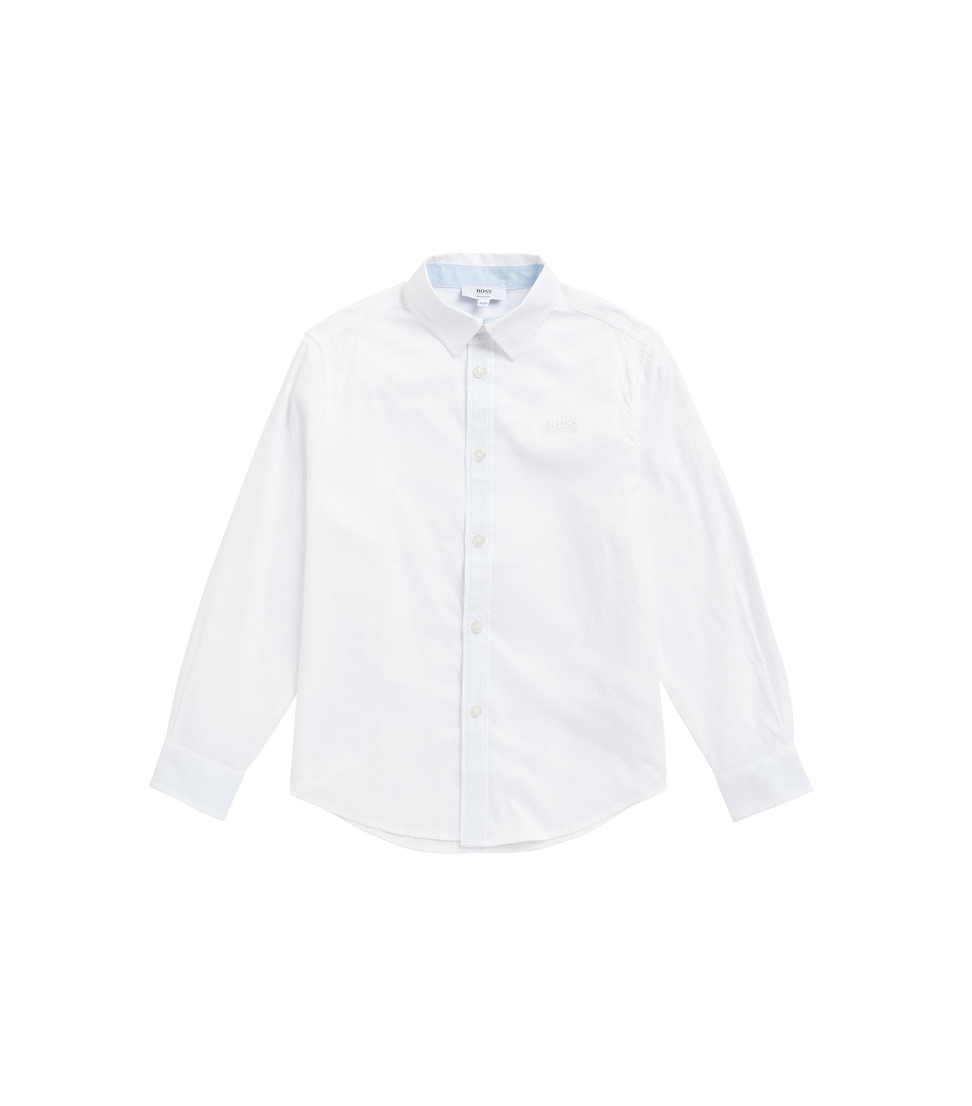 Regular-fit kinderoverhemd van fil-à-fil katoen, Wit