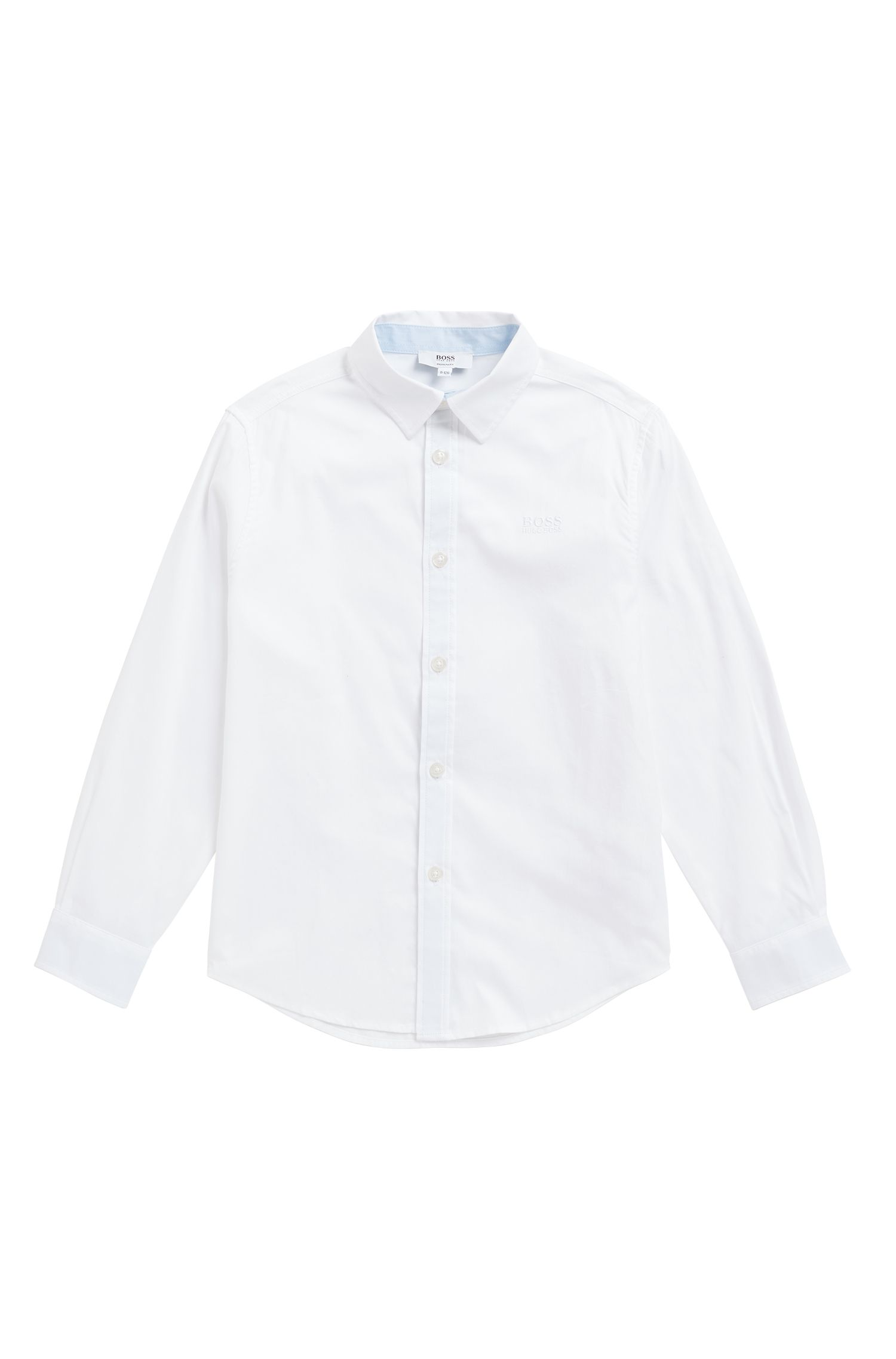 Kids' regular-fit shirt in end-on-end cotton, White