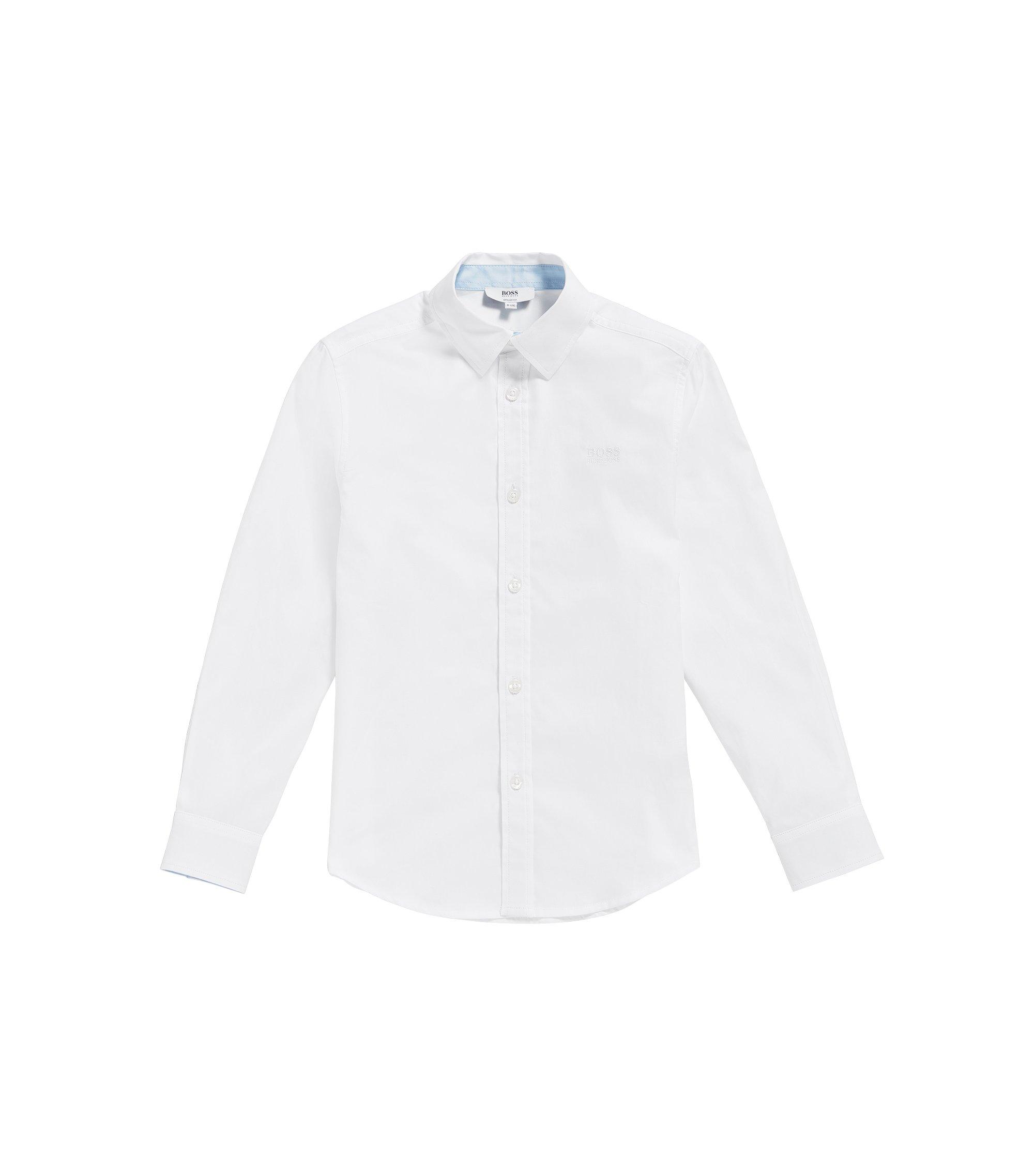 Camisa regular fit en algodón fil a fil para niños, Blanco