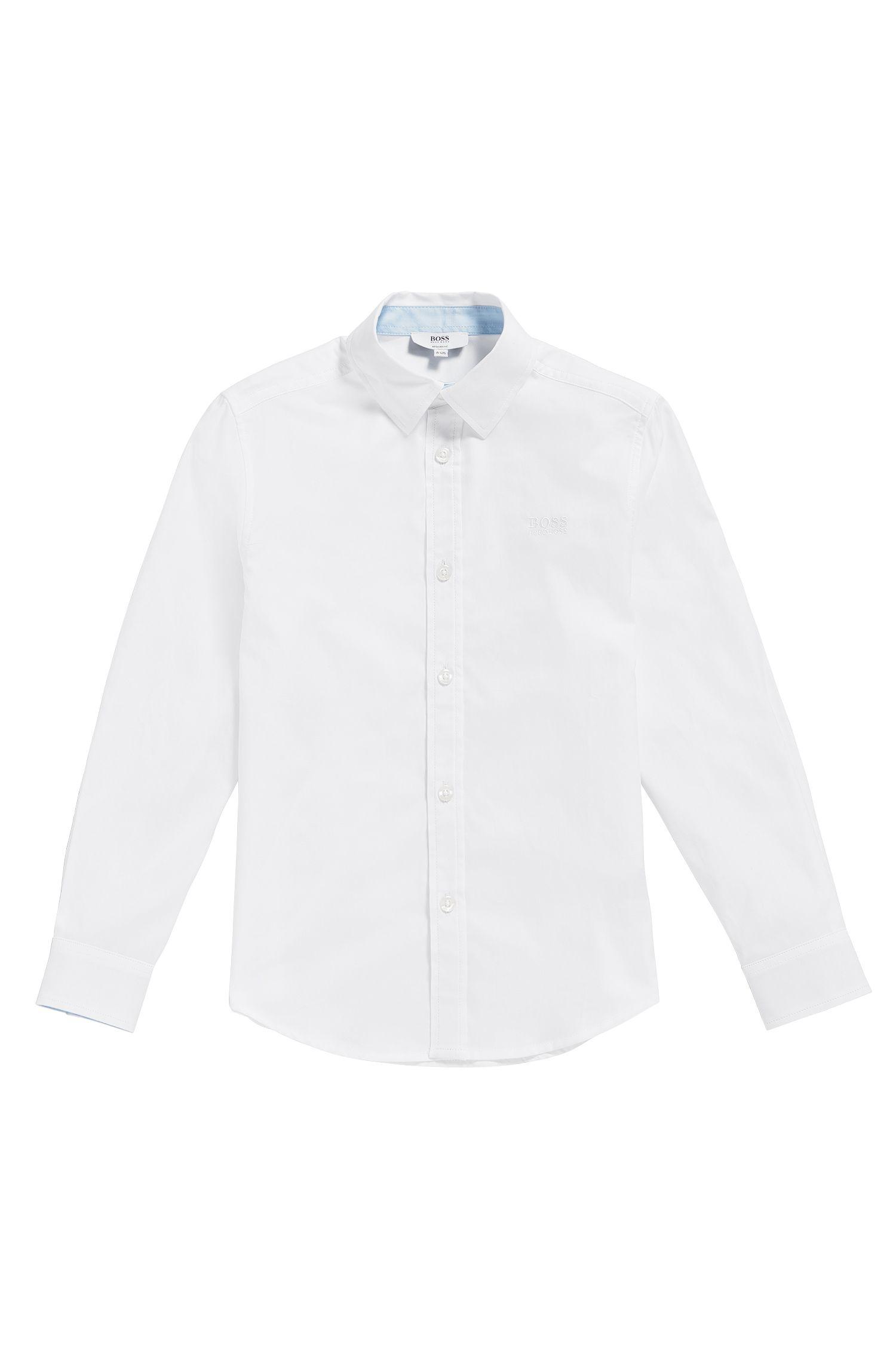 Kinderoverhemd van fijngestructureerde katoen: 'J25P03'
