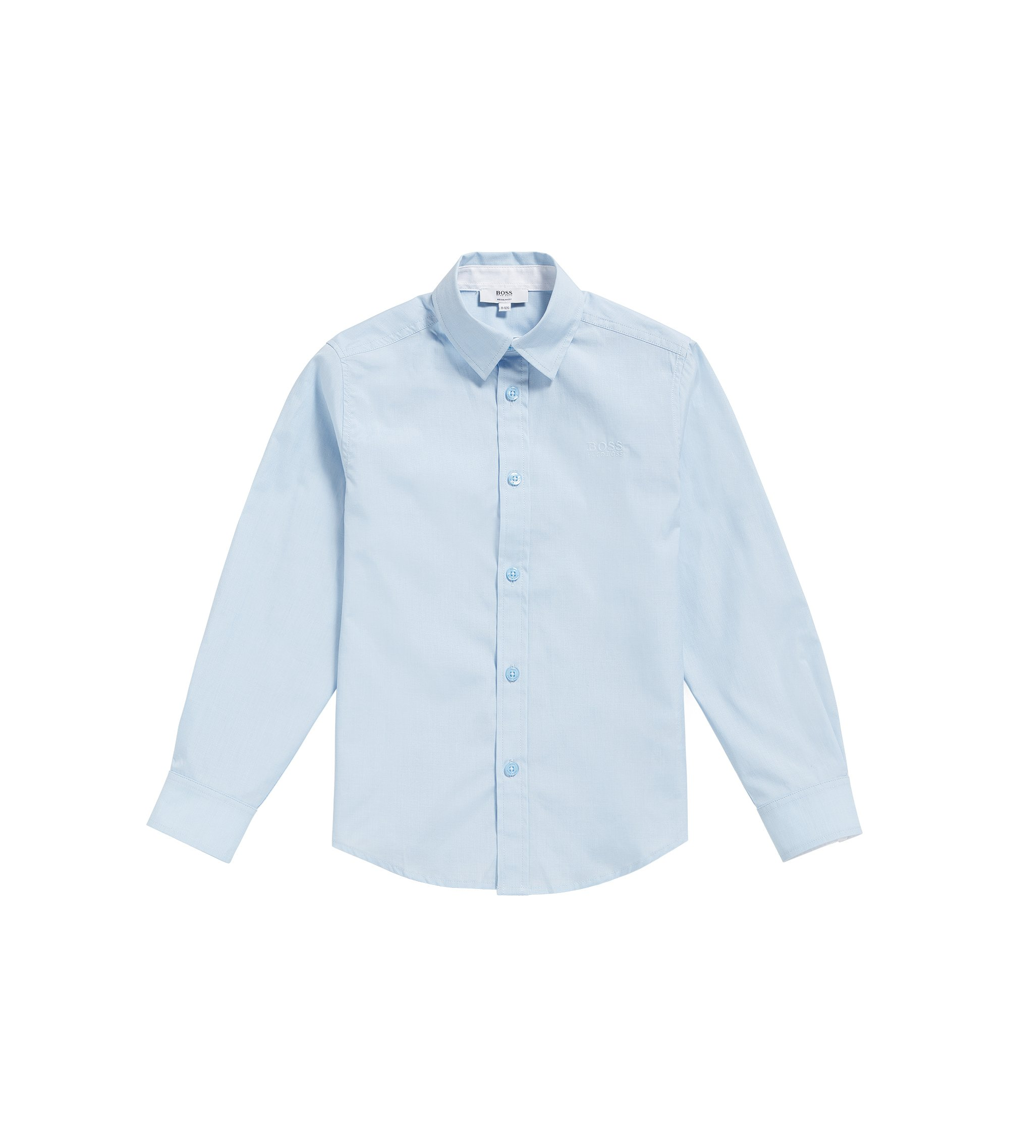 Kids' regular-fit shirt in end-on-end cotton, Light Blue