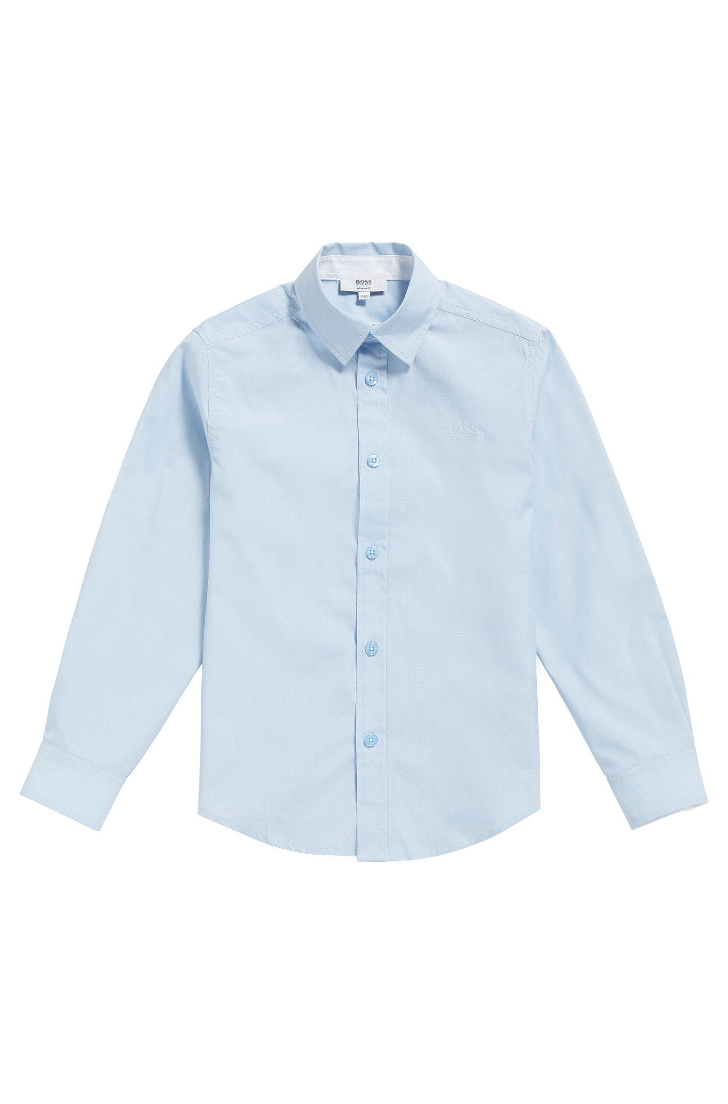 Regular-fit kinderoverhemd van fil-à-fil katoen, Lichtblauw