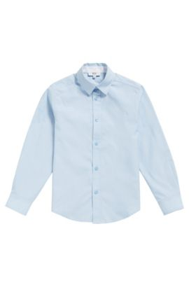 Camisa regular fit en algodón fil a fil para niños, Celeste