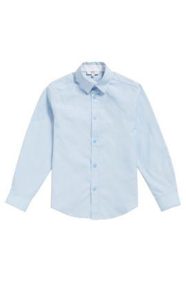 Kinderoverhemd van fijngestructureerde katoen: 'J25P03', Lichtblauw