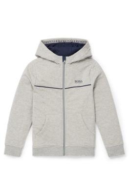 Veste d'intérieur à capuche en molleton de coton stretch, pour enfant, Gris chiné