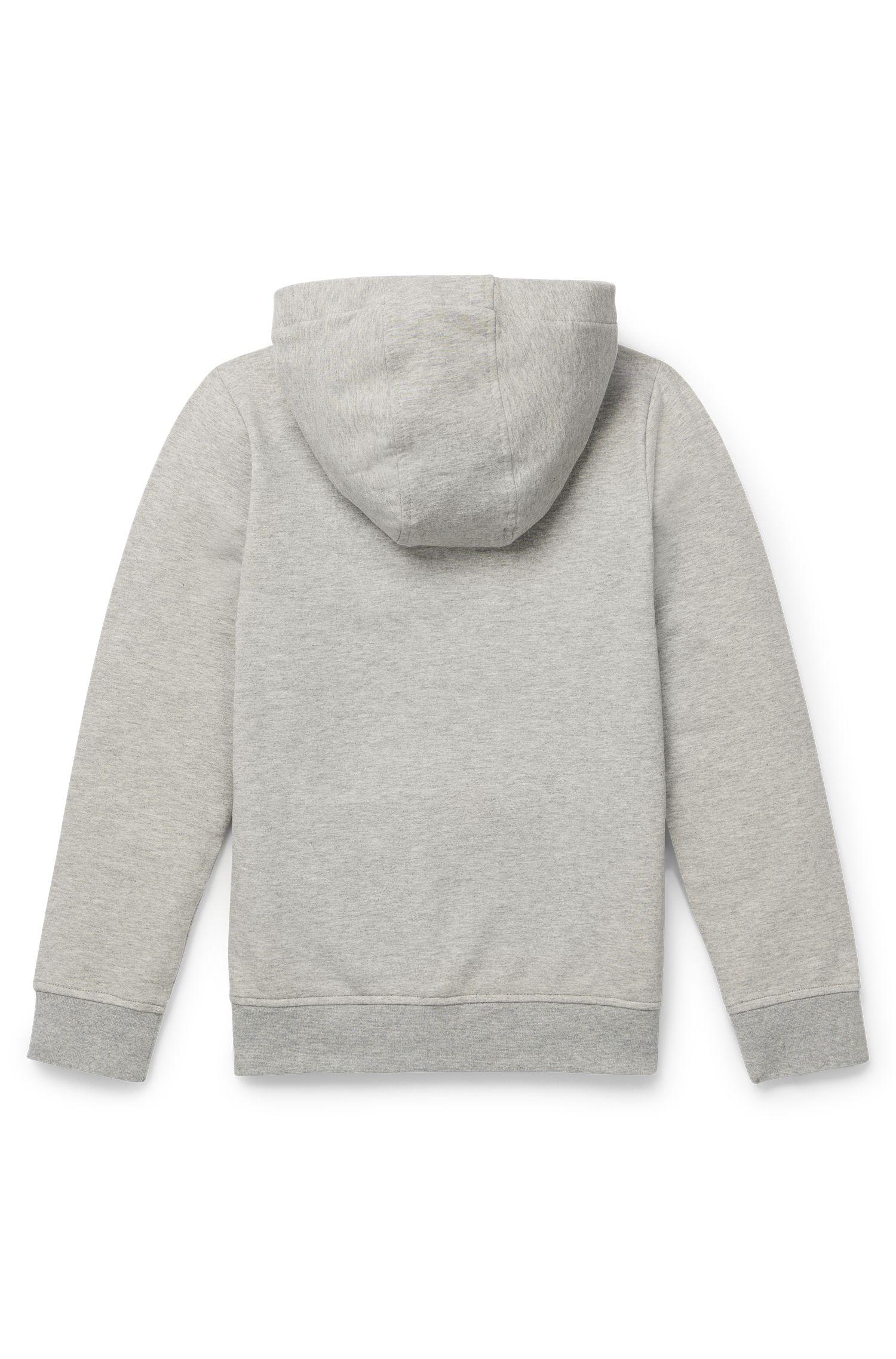 Kids-Jacke aus elastischem Baumwoll-Fleece mit Kapuze, Hellgrau