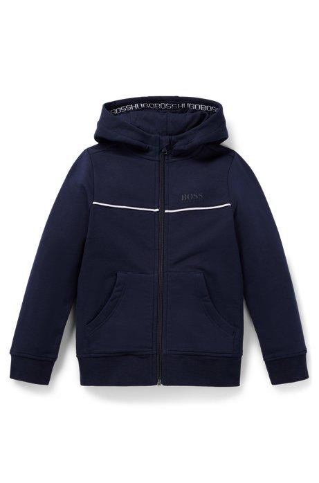 Giacca con cappuccio da bambino per il tempo libero in pile di cotone elasticizzato, Blu scuro