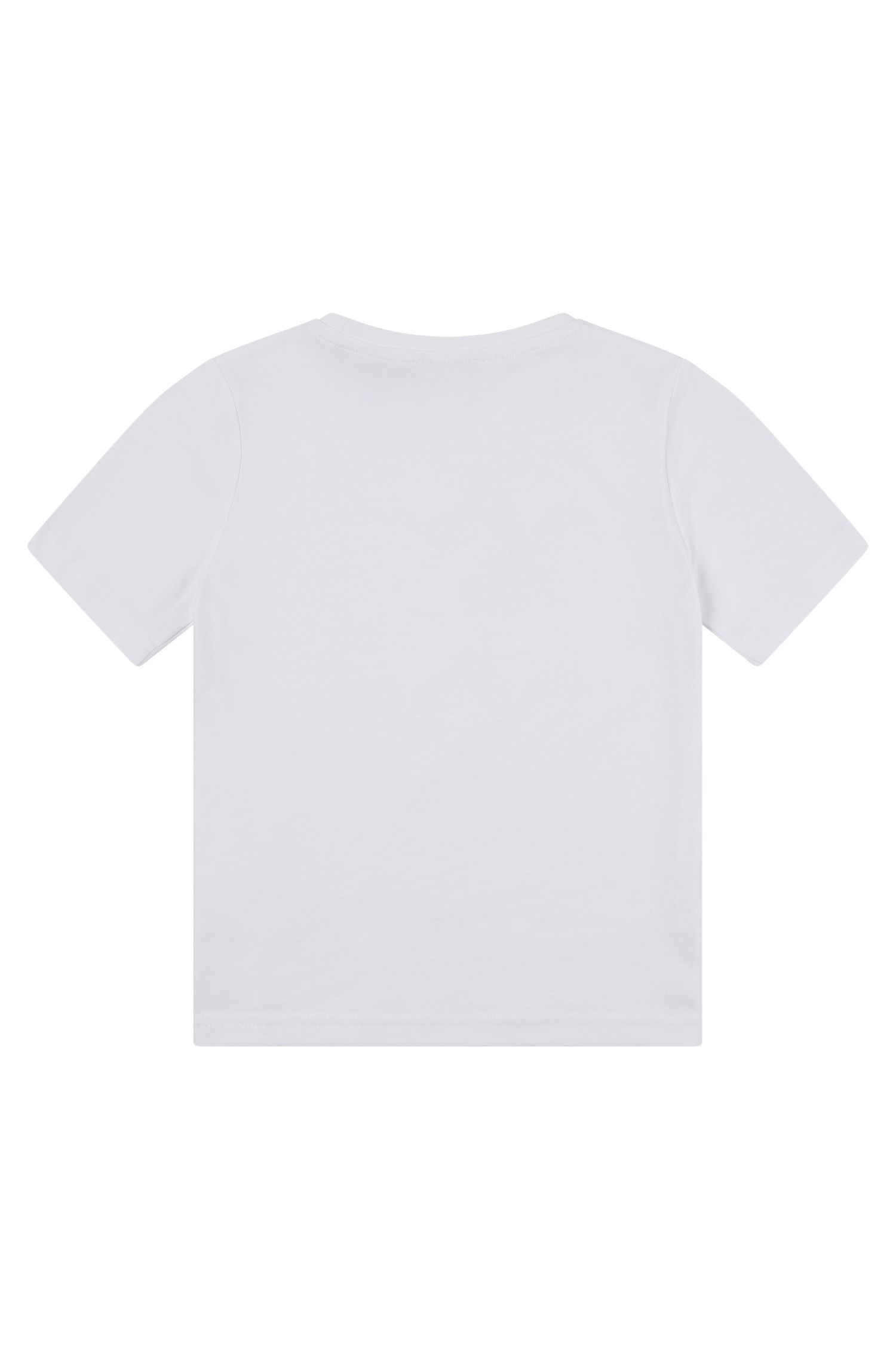 Kids' T-shirt in pure cotton with high-density logo, White