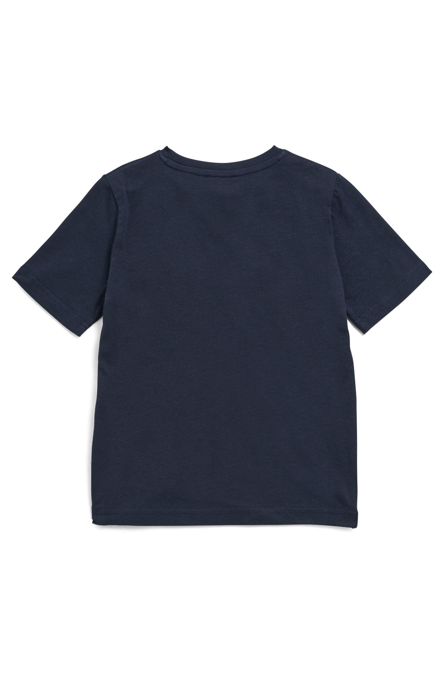 Kids' T-shirt in pure cotton with high-density logo, Dark Blue