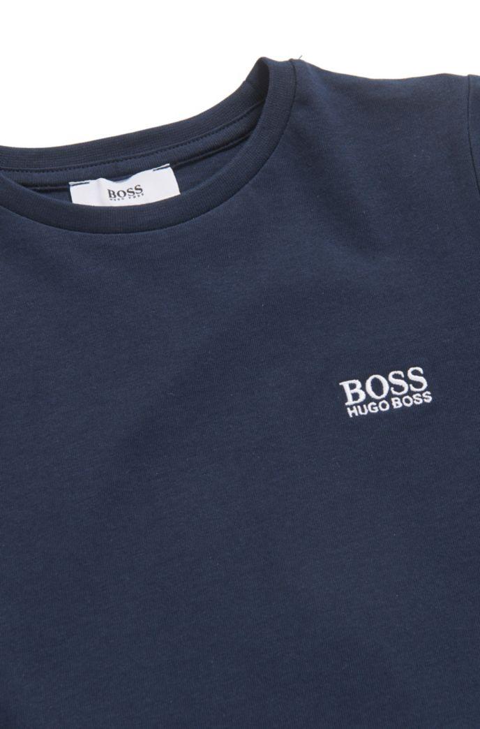 T-shirt da bambino in jersey di cotone con logo ricamato